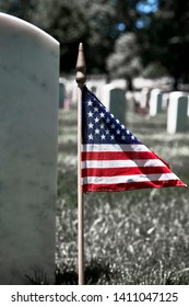 Close up of American Flag on a soldiers gravesite