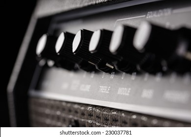 close up of amplifier head controller