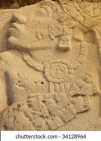 Close up of ancient carving of Mayan prisoner. Ruins of Palenque, Chiapas state, Mexico.