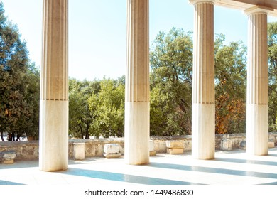close up of ancient greek ruins