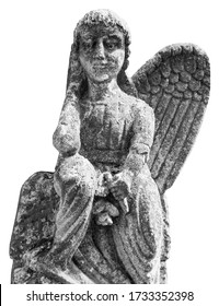 Close up of angel with one broken wingwings. Monochrome image of vesy ancient stone statue isolated on white background.
