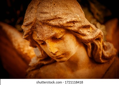 Close up angel in the sunlight (antique statue)