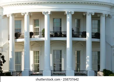 Close Up Angle On Oval Office Of White House, Washington DC, USA.