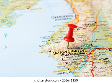 Close up of Antakya Hatay ,Turkey  map with red pin    - Travel concept