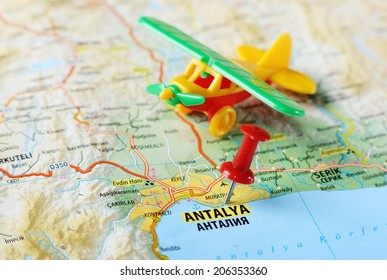 Close up of  Antalia,Turkey  map with red pin  and airplane  - Travel concept