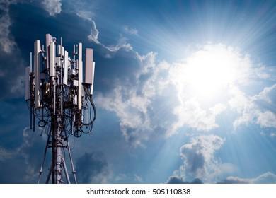 Close up antenna on blue sky.