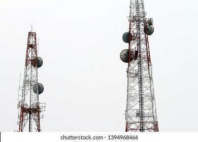 Close up of Antenna towers with copy space background
