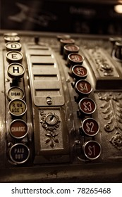 close up of antique cash register