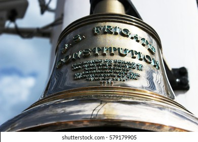 Close Up of Antique Historical Bell on the U.S.S. Constitution in Boston Harbor