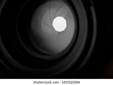 Close up aperture blades of camera lens