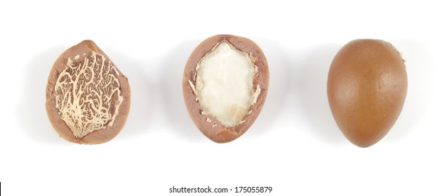 Close up of argan nuts in a row on a white background. Horizontal studio shot.