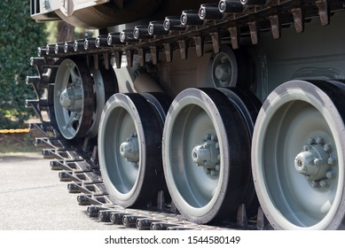 close up of armored vehicle continuous track