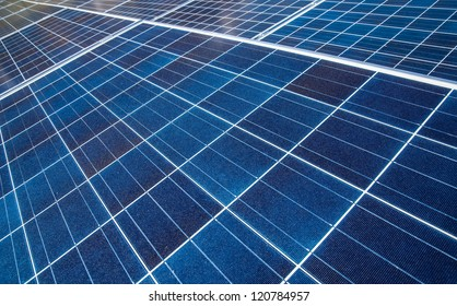Close up of an array of solar panels
