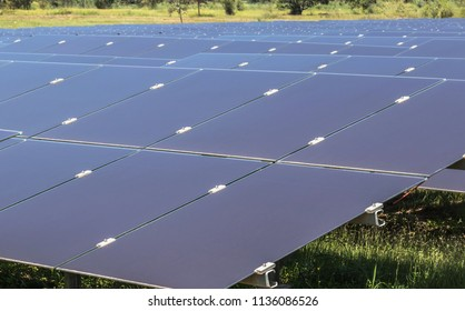 Close up array of thin film solar cells or amorphous silicon solar cells or photovoltaics in solar power plant turn up skyward absorb the sunlight  alternative renewable energy from the sun