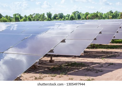 Close up array of  thin film solar cells or amorphous silicon solar cells or photovoltaics in solar power plant is power production technology renewable green clean energy from the sun