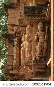 Close up of artful carved walls, Ancient reliefs at famous erotic temple in Khajuraho, Madhya Pradesh, India.