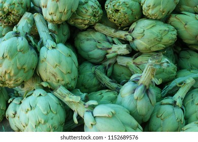 Close up artichokes, fresh bunch of artichokes