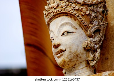 Close up artifact in the Thailand temple, Abstract soft focus background