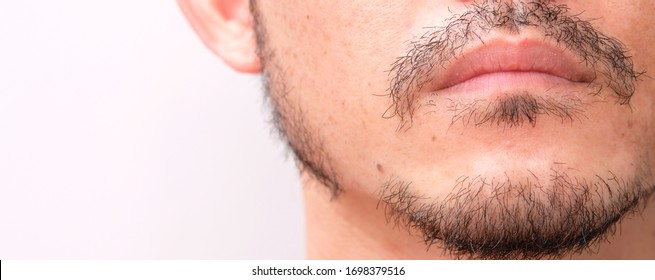 Close up Asian Beard Mustache Isolated on white background