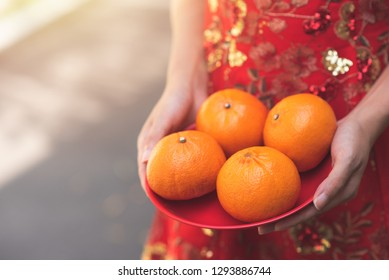 Close Up Asian Chinese Woman in Cheongsam Traditional Red Dress Holding Plate of Orange for Giving in Chinese New Year