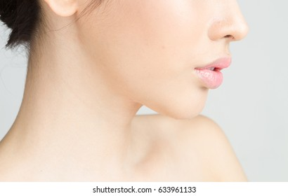 close up Asian girl with Red lip with white background  beauty and fashion concept