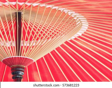Close - up Asian japanese chinese traditional Oil paper red umbrella.