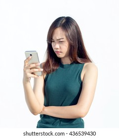close up asian Thai girl touch smartphone on white background