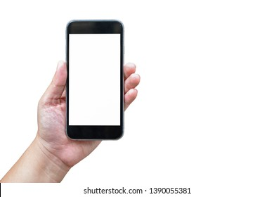 Close up to Asian Women hand holding black smartphone white screen isolated on white background view. Business office with clean Clipping Path.