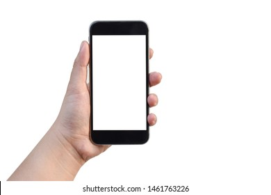 Close up to Asian Women left hand holding black smartphone empty blank white screen isolated on white background view. Business office. Technology with Clipping Path.