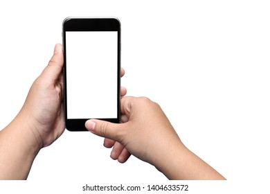 Close up of Asian Women two hand holding black smartphone with white screen isolated controlling on white background view. Top view of Empty blank phone with clean Clipping Path.
