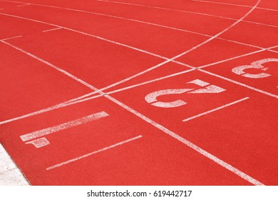 Close up Athletics track in sport stadium for texture and background