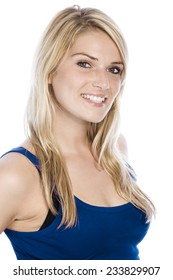 Close up Attractive Smiling Woman with Long Blond Hair in Casual Sleeveless Blue Shirt. Looking at the Camera. Isolated on white Background.