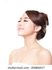 close up of attractive woman face relax closed eyes isolated on white background, asian beauty