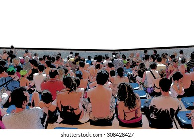 Close up of an audience with a personalizable white space in front