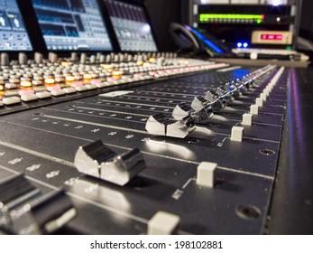 Close up of Audio Mixer Faders