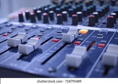 Close up audio mixer slide.Sound studio.