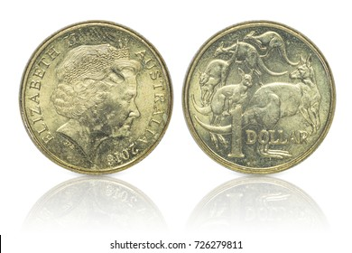 Close up - Australian dollar coins islated on white background with clipping path. Reflection coin on white background.