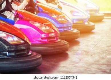 close up autodrome car in the lunapark