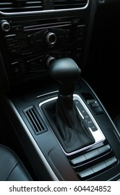 Close up of automatic car gear box in park mode