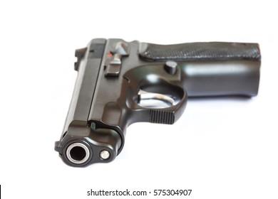 close up automatic pistol handgun weapon on white background