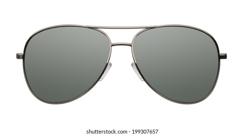 Close up of aviator sunglasses isolated on white background