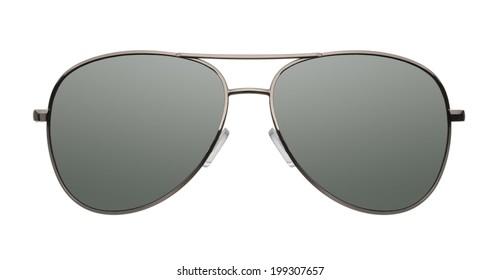 Close up of aviator sunglasses isolated on white background
