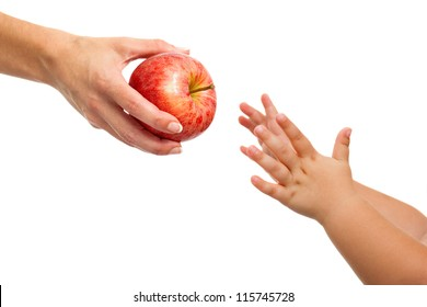 Close up of babies hands reaching out to apple.Isolated on white.