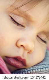 Close up of a baby sleeping