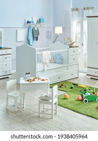 Close up baby table and chair and decorative wooden bed background style, interior toy, carpet and object.