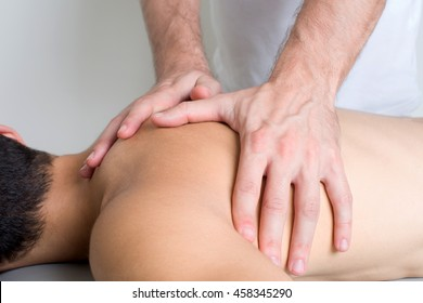 close up of a back massage