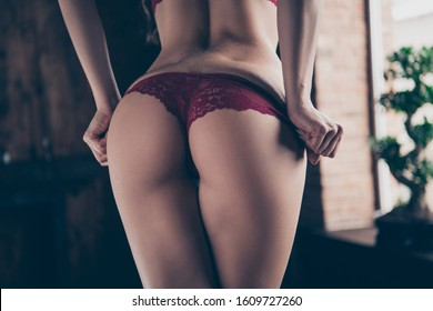Close up back rear behind photo seductive stunning gorgeous ass butt she her lady perfect ideal shape fit legs take off panties ready husband boyfriend back home nude red lace bikini boudoir indoors