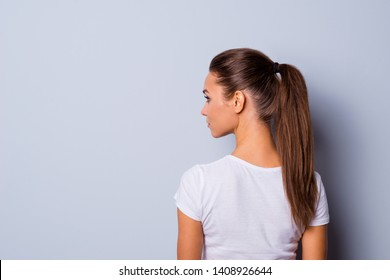 Close up back rear behind side profile view photo amazing beautiful she her lady look side empty space not smiling reliable person wear casual white t-shirt clothes isolated grey background