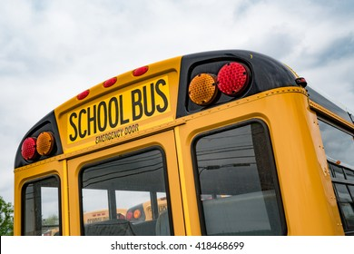 Close up of the back of a school bus.