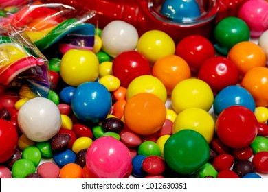 Close up background of brightly colored candy.